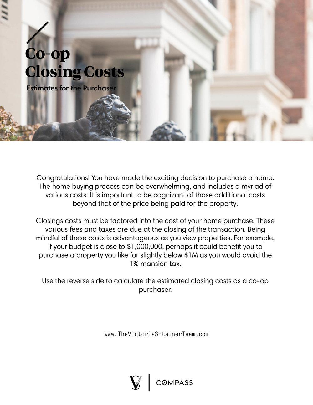 Co-Op Closing Cost Estimator