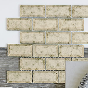 Antique Mirrored Beveled Amalfi Glass Wall Tile