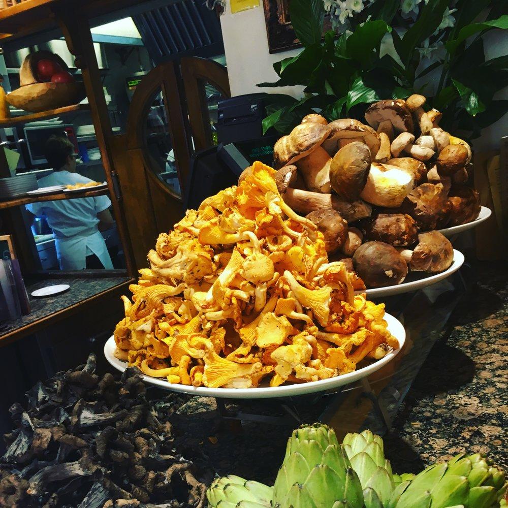 Harvest fresh mushrooms piled high for the day's Pinxtos - so good! San Sebastian