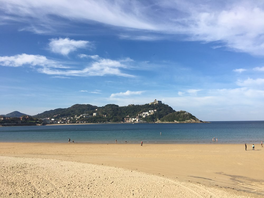 San Sebastian - it was warm enough to sit by the sea near the old city.