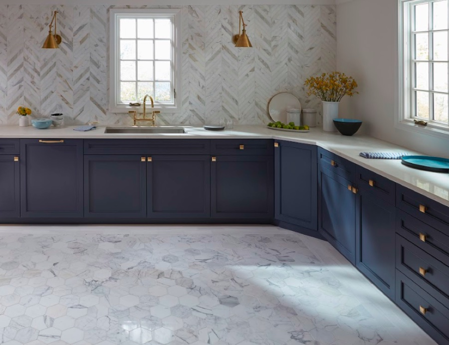 Navy cabinets in grey, French-inspired kitchen
