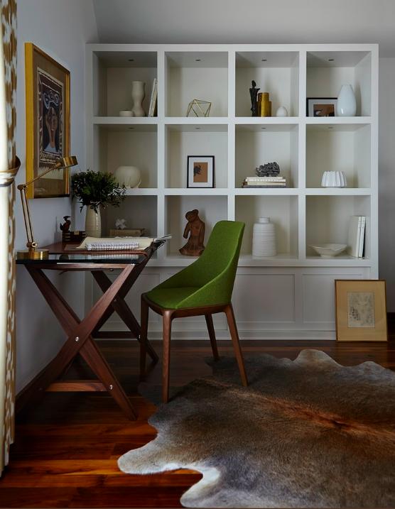 When more is more: grass cloth, silk velvet, leather, burnished metals, and original artwork.  Interior Designer Barbara Schmidt, studiobstyle