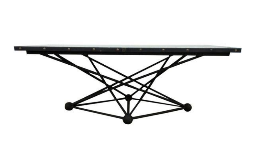 Found cast iron Table and Galvanized Top serve as island work area and dining table.