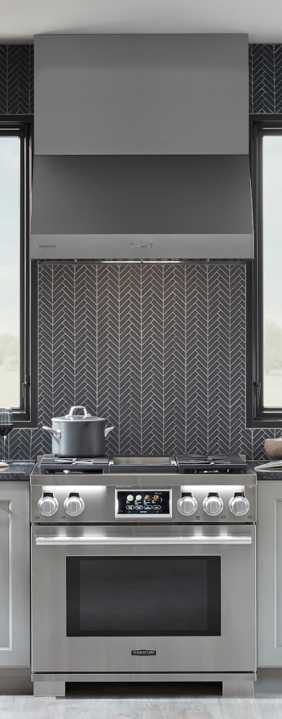 "The Signature Kitchen Suite: 36"" Duel-Fuel Pro Range and matching Vent Hood."