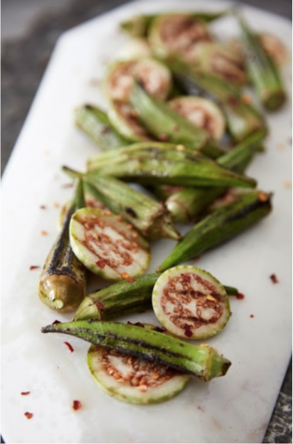 Sliced peppered and grilled aubergine eggplant and okra. By Studiobstyle, Barbara Schmidt, Creative Director. For our favorite recipe see our  Facebook Page