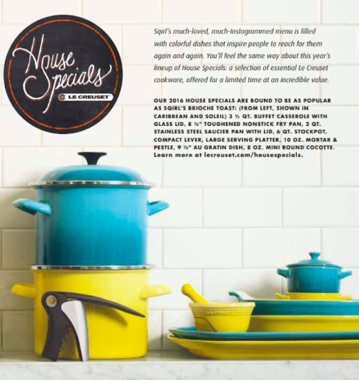 Sqirlla Chef Jessica Koslow, William Hereford photographer, Barbara Schmidt stylist, studiobstyle featuring Le Creuset.