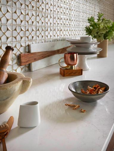 """New Spice"" custom kitchen designed by Interior Designer Barbara Schmidt, studiobstyle featuring Caesarstone, Ann Sacks Tile."