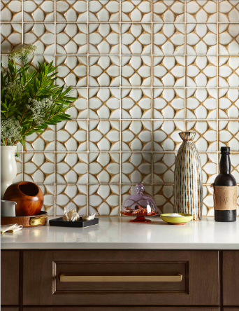 """New Spice"" custom kitchen designed by Interior Designer Barbara Schmidt, studiobstyle featuring Caesarstone, Ann Sacks Tile, Mid Continent Cabinetry, Berenson Hardware."