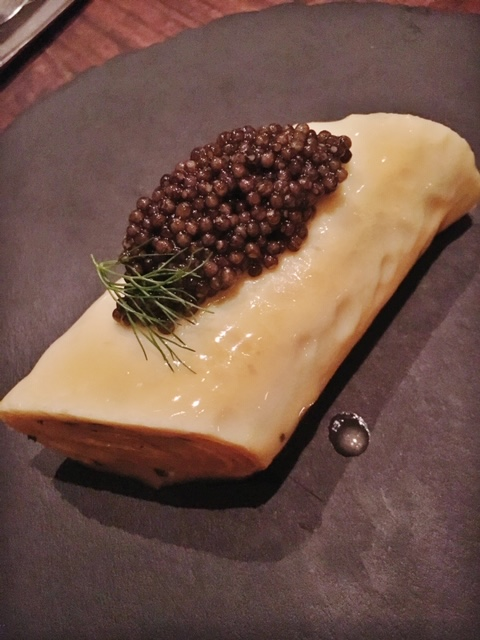 The legendary Petit Crenn omelette folded five times with fine herbs and Royal White Sturgeon caviar paired with Krug Grand Cuvee Brut, Reims MV.