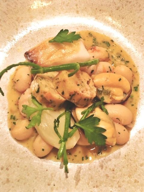 """""""Cassoulet de la Mer"""" Black Cod, Salt Spring Museel, Seafood Boudin. Paired with Domainde Montbourgeau, L'Etoile, Vin Jaune, Jura 2010"""