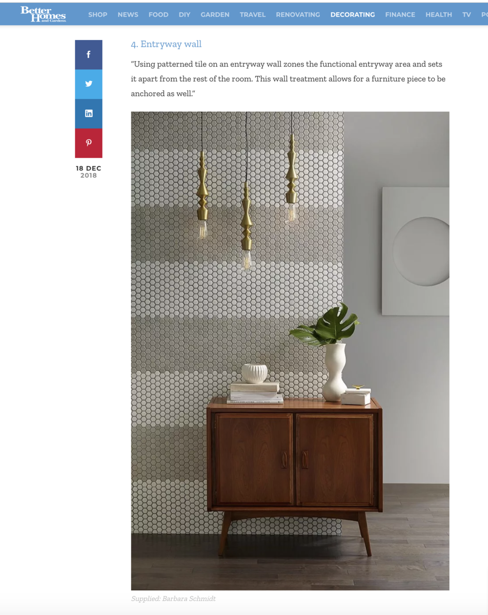 Recent  Better Homes and Gardens  editorial featuring Barbara Schmidt's custom interiors and exteriors - Hallway design highlights  Jeffrey Court Tile ,  CB2,   Mirage Flooring ,  Mid Mod Men  .