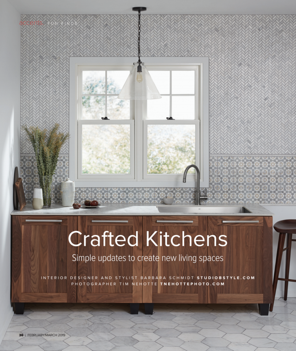 Recent editorial feature highlighting Barbara Schmidt's kitchen interiors - Weather Shield Windows,  Jeffrey Court Tile ,  Mid Continent Cabinetry,   Tapis Decor ,  DXV ,  Emtek Hardware ,  Wilsonart THINSCAPE ,  Northern Clay Center