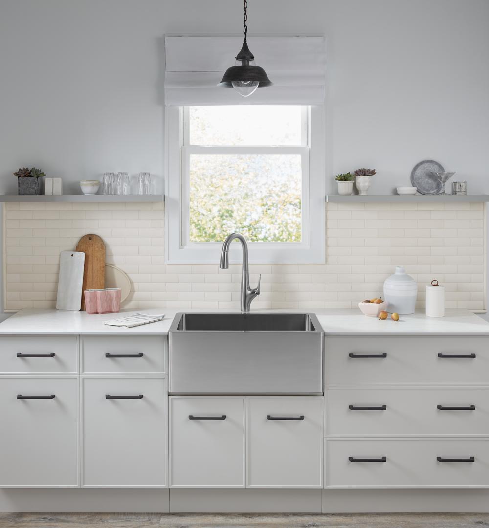 Custom Designed Kitchen by Barbara Schmidt featuring  Northern Contours ,  American Standard ,  Window World MN , J effrey Court HD ,  Amerock ,  Northern Clay Center