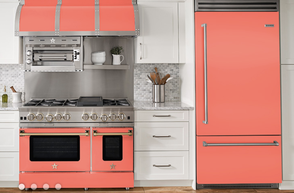 """BlueStar 48-inch Platinum Gas Range and 36-inch French Built-in Refrigerator in Pantone's 2019 Color of the Year """"Living Coral"""""""