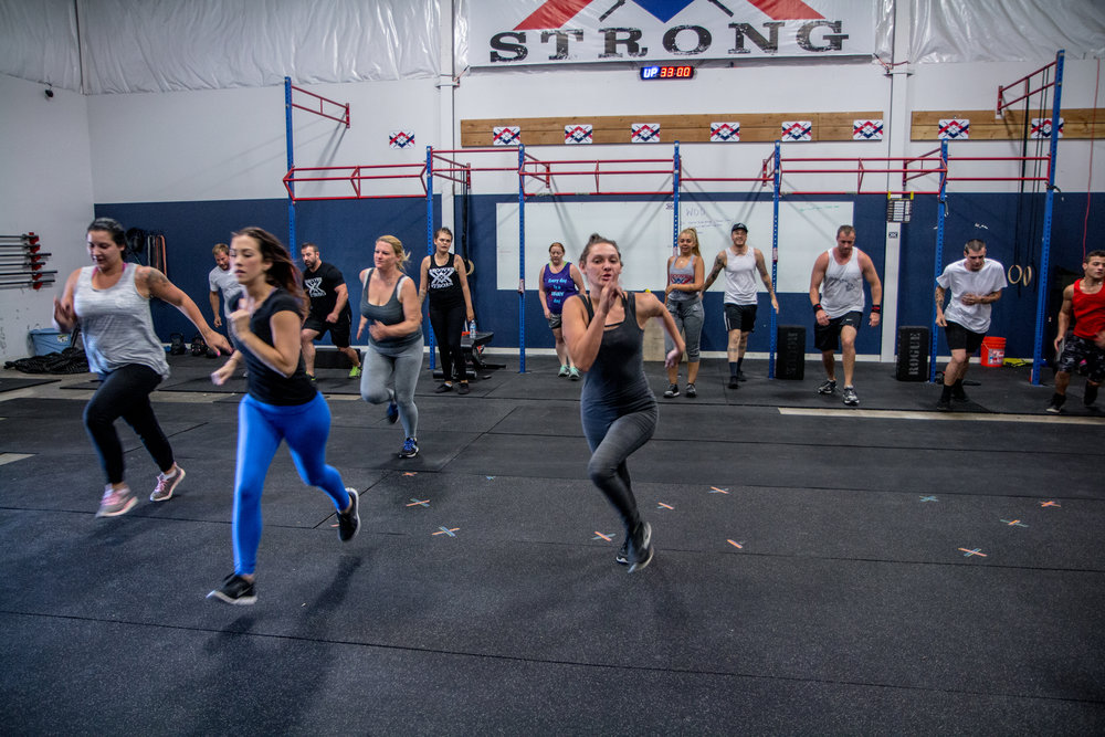 Recover Strong clients during class at Captain Crossfit in Prescott, Arizona