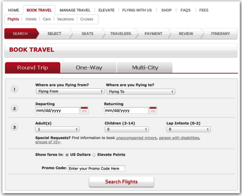 Virgin's old booking interface. Don't forget your air sickness bag.