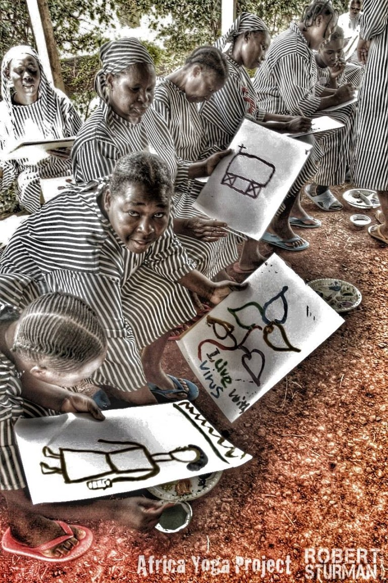 This woman's drawing brought tears to my eyes. There weren't enough mats or space for all 70 of the HIV positive women prisoners to practice in the yoga class provided by   Africa Yoga Project  in Nairobi, that day. So instead, paper and paints were distributed by an organization called  Harambee Arts  , to the women who were not able to participate in the class.