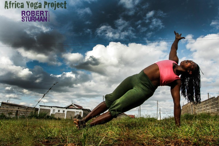 In Nairobi, Irene Auma in a Side Plank (Vasisthasana).