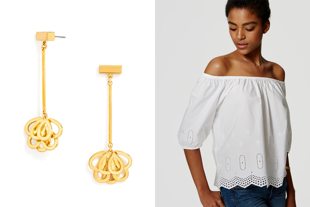 Baublebar earrings, $32; baublebar.com. LOFT top, $54.50; loft.com.