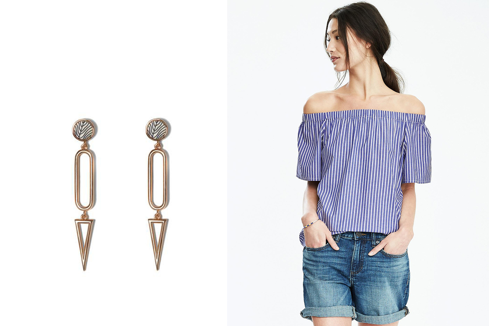 Vince Camuto earrings, $58; vincecamuto.com. Banana Republic top, $78; bananarepublic.com.