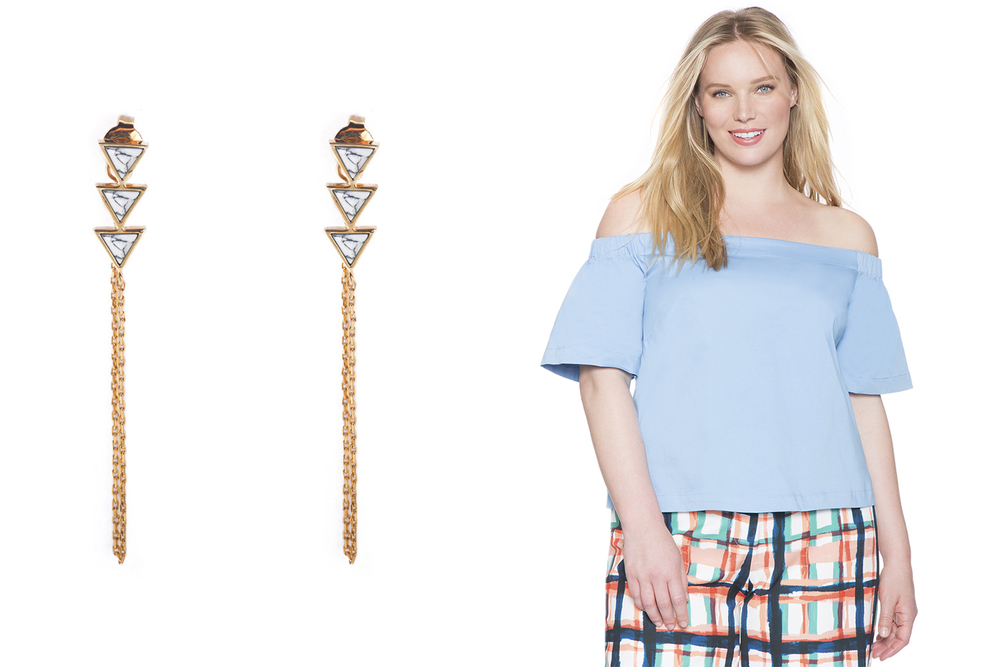 Wanderlust + Co earrings, $55; wanderlustandco.com. Eloquii top, $64.90; eloquii.com.