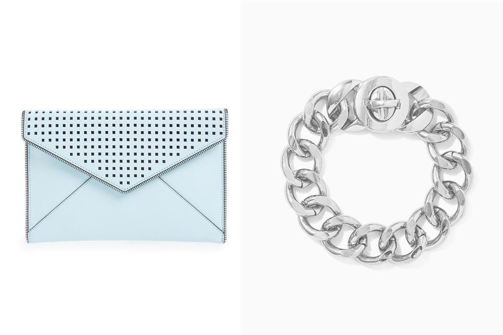 Rebecca Minkoff clutch, $125;  nordstrom.com . Charming Charlie bracelet, $10;  charmingcharlie.com .