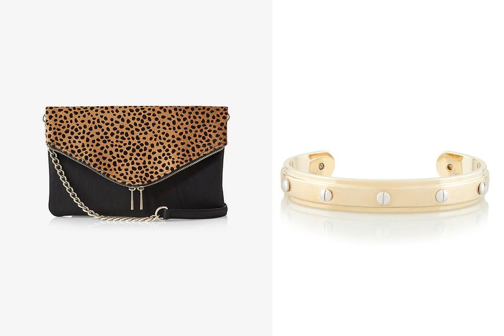 Express clutch, $49.90;  express.com . Henri Bendel bracelet, $78;  henribendel.com .
