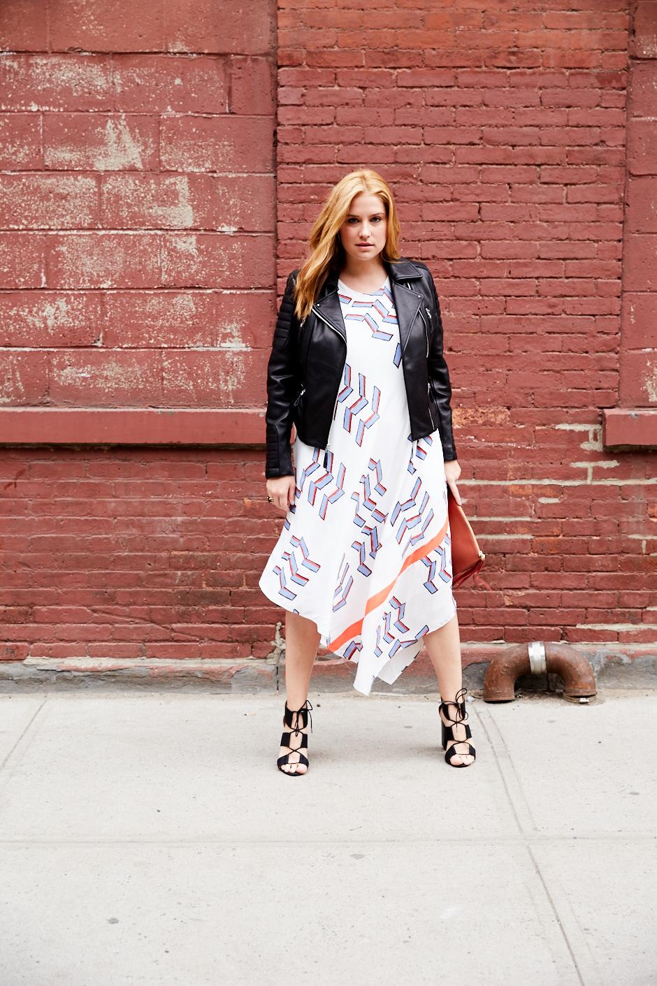 Xhilaration jacket, $39.99;  target.com . Rachel Rachel Roy dress, $69.99;  macys.com . LOFT heels, $89.50;  loft.com . Vince Camuto clutch, $148;  vincecamuto.com .