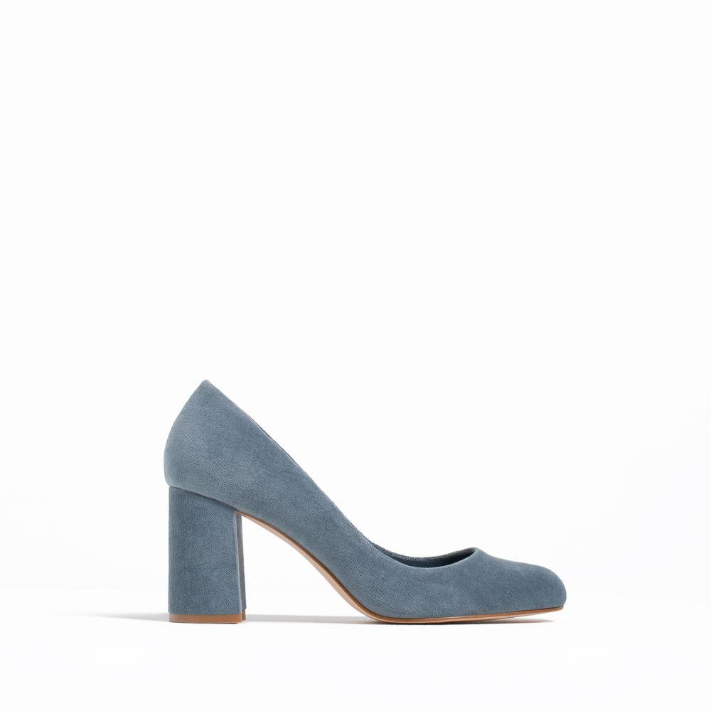 Zara velvet high heels, $59.90; zara.com.
