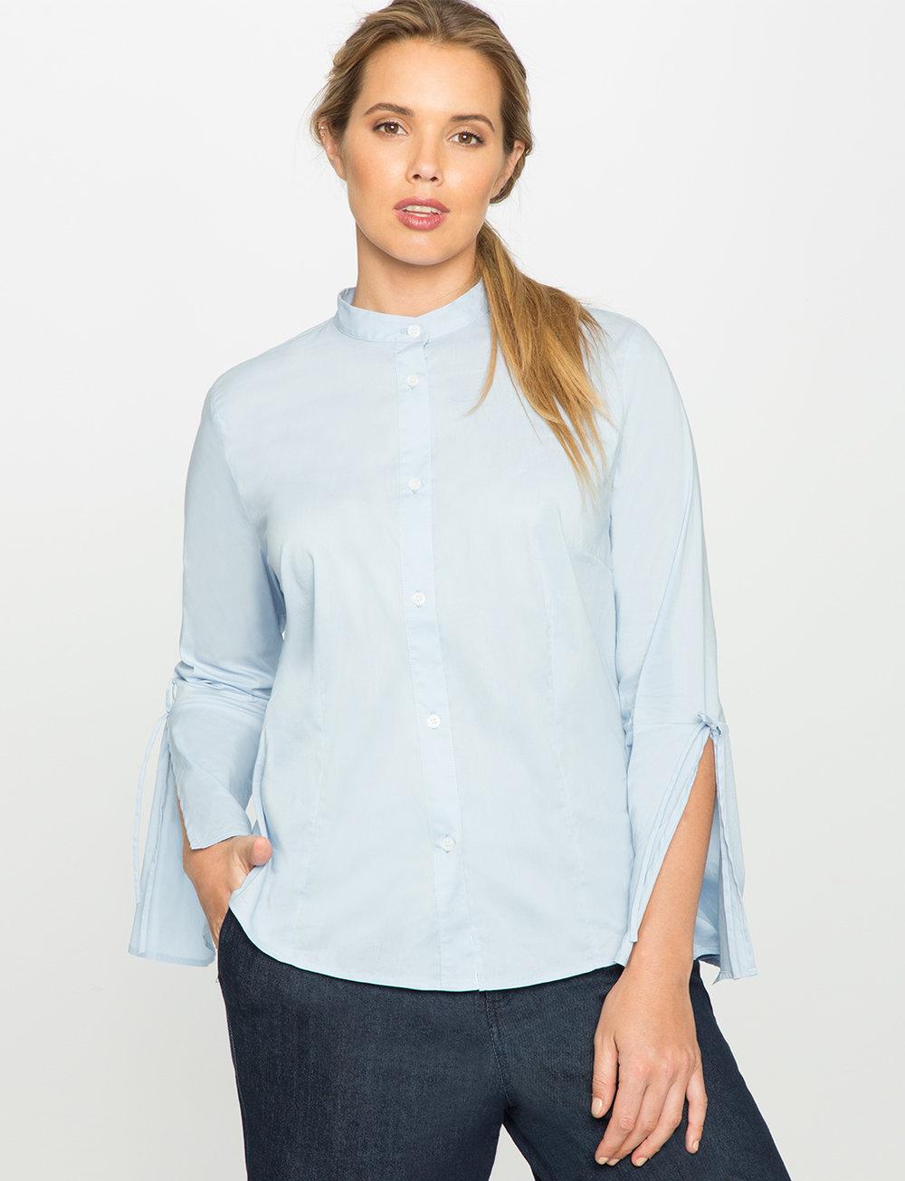 """Eloquii """"Bell Sleeve Button Up Blouse"""", $64.90; eloquii.com."""