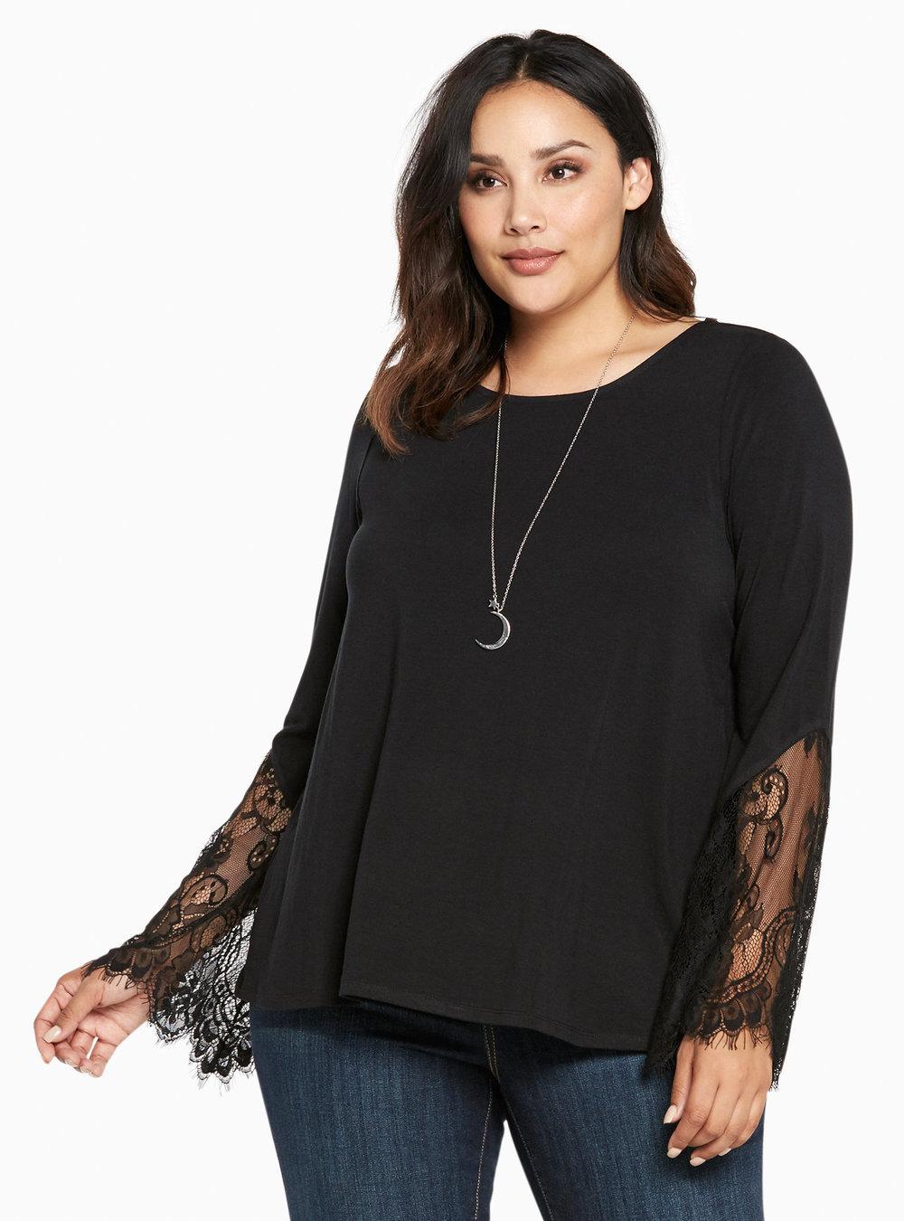 """Torrid """"Lace Bell Sleeve Top"""", $42.90; torrid.com"""