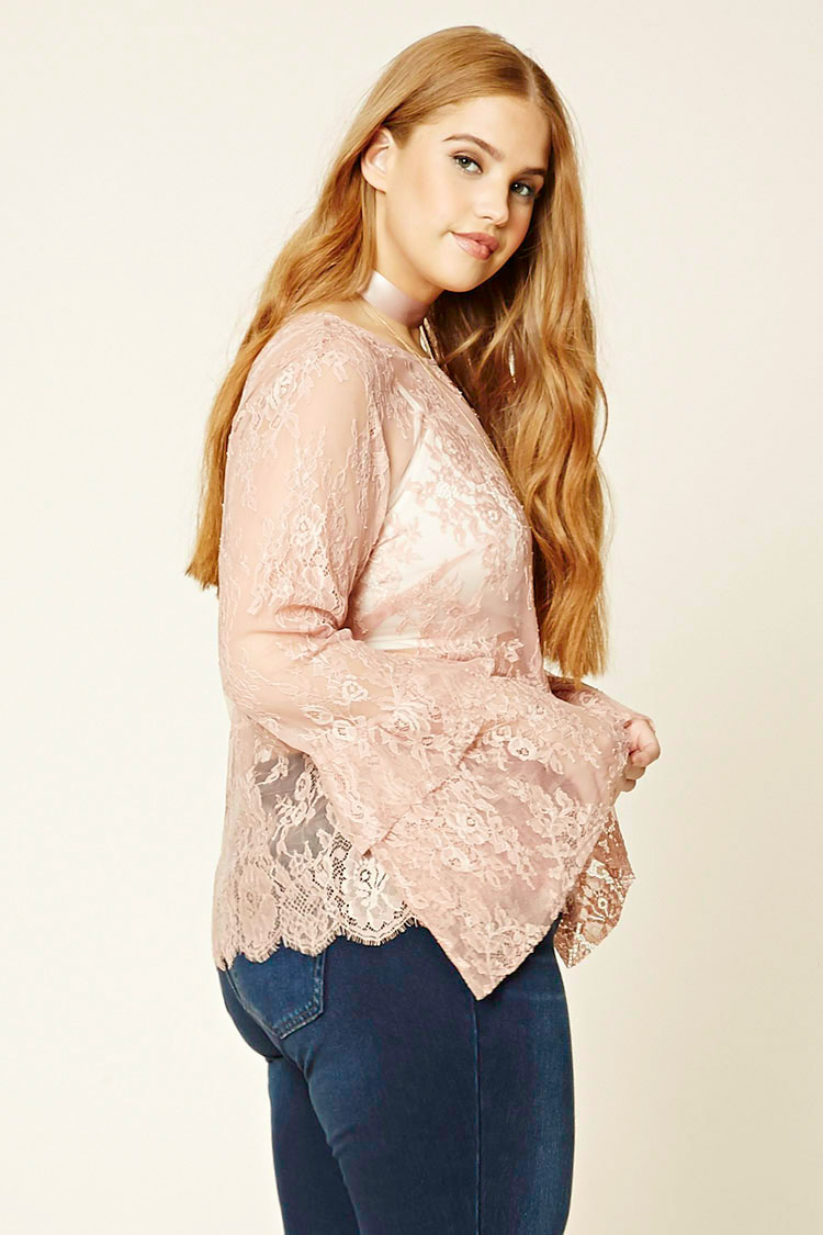 "Forever 21 ""Plus Size Lace Bell-Sleeve Top"", $19.90; forever21.com"