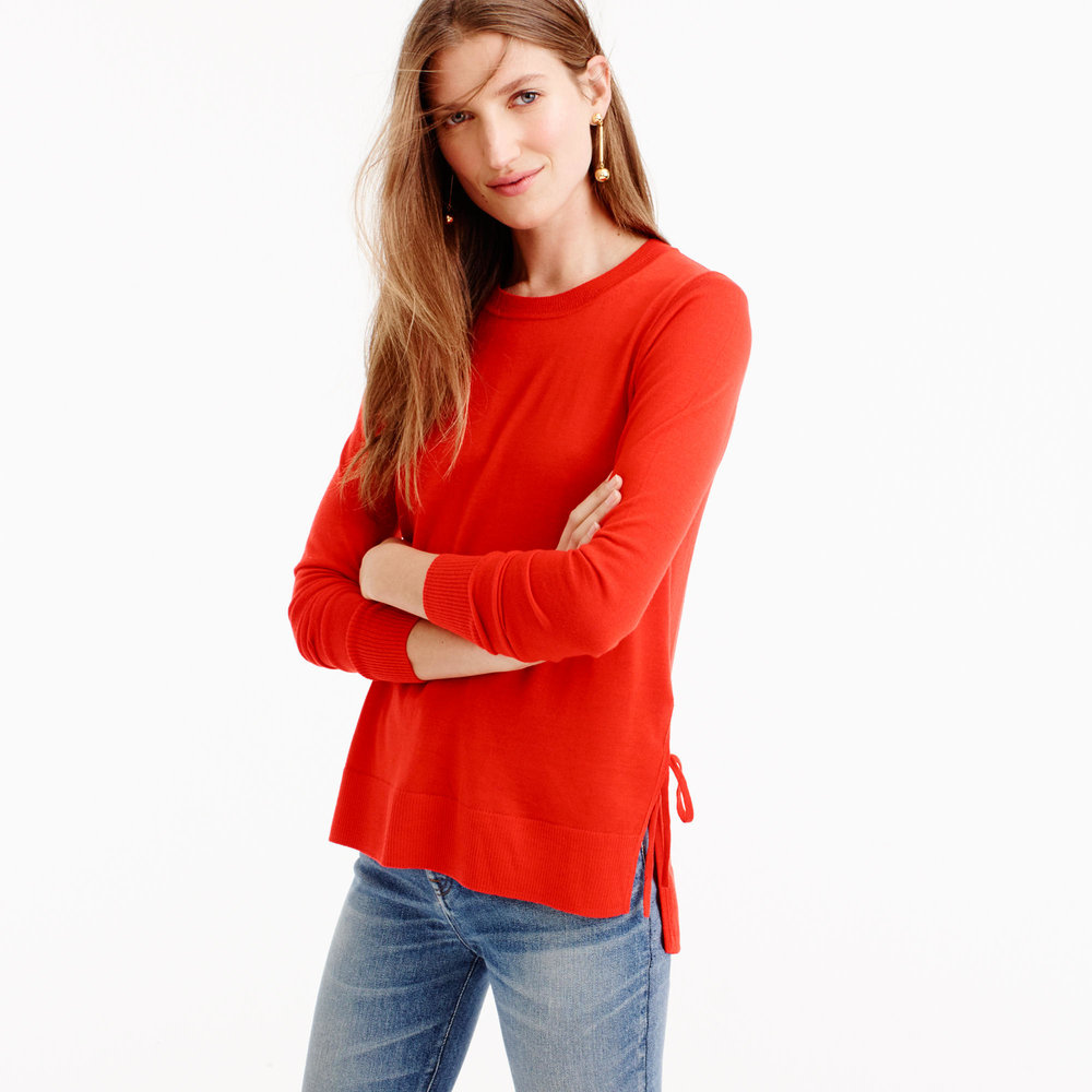 J. Crew Side-Split Sweater, $79.50;  j.crew.com