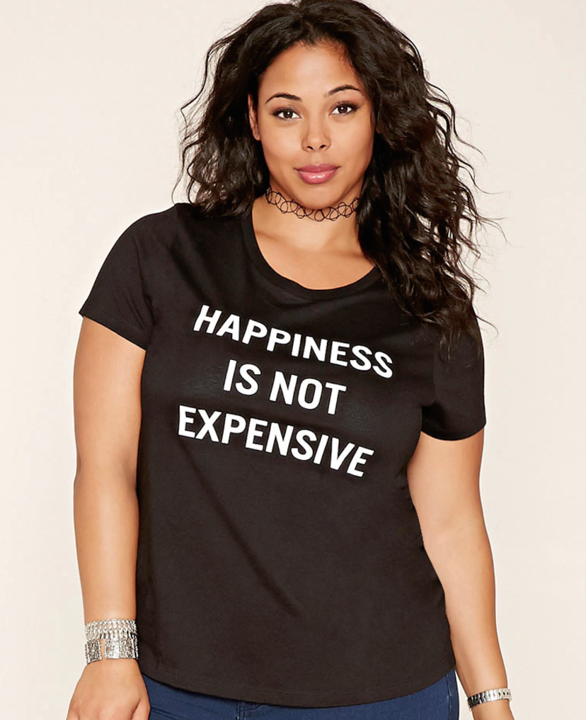 The shirt says it all. Add a fun necklace and you have a  look .  Forever 21+, 10.90, forever21.com.