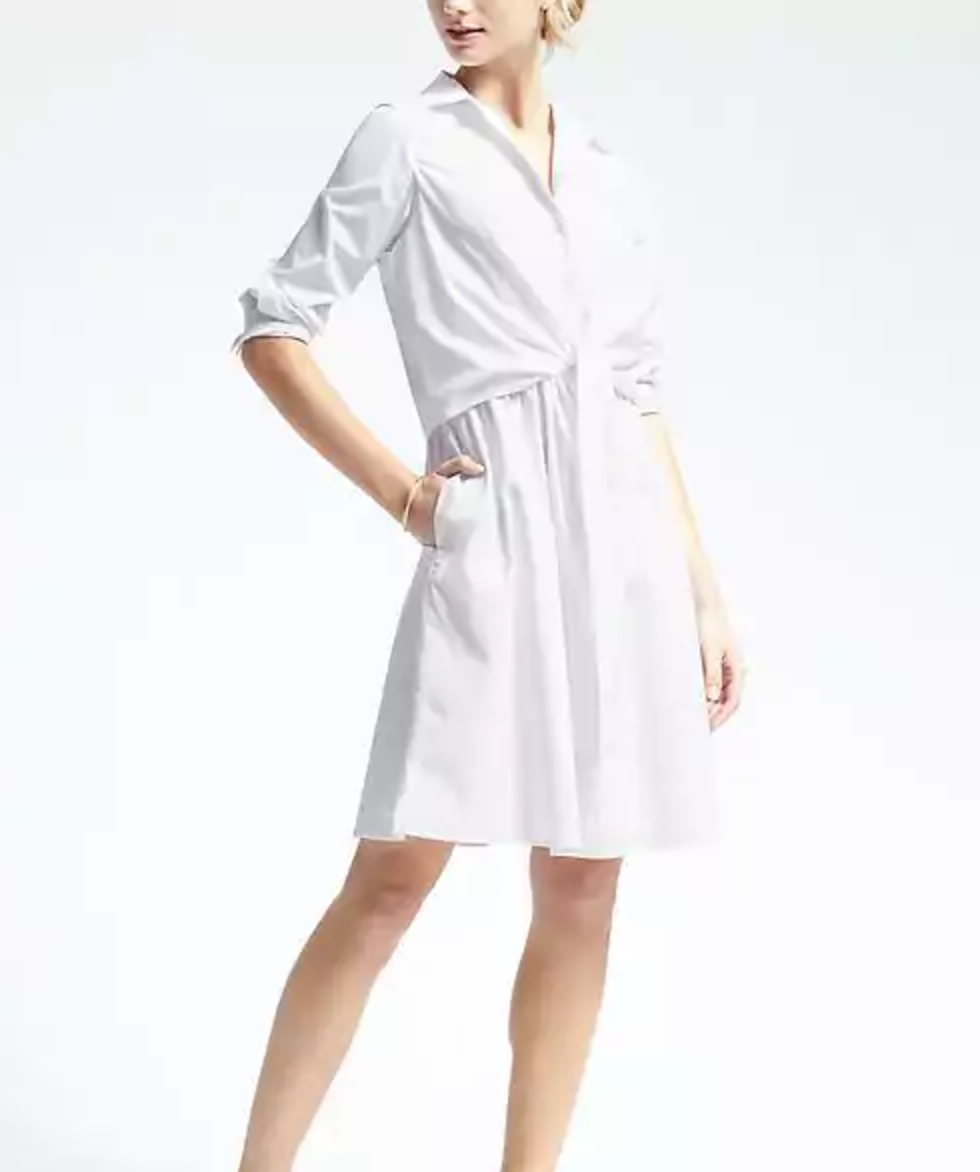 Banana Republic White Tie-Waist Shirtdress, $59, bananarepublic.gap.com