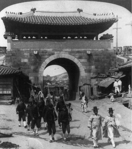 Japanese Troops marching through the West Gate, 1904