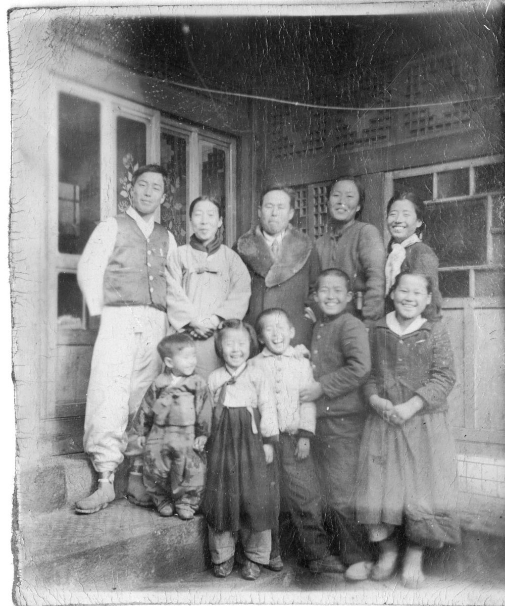 With his family in Seoul, circa 1952
