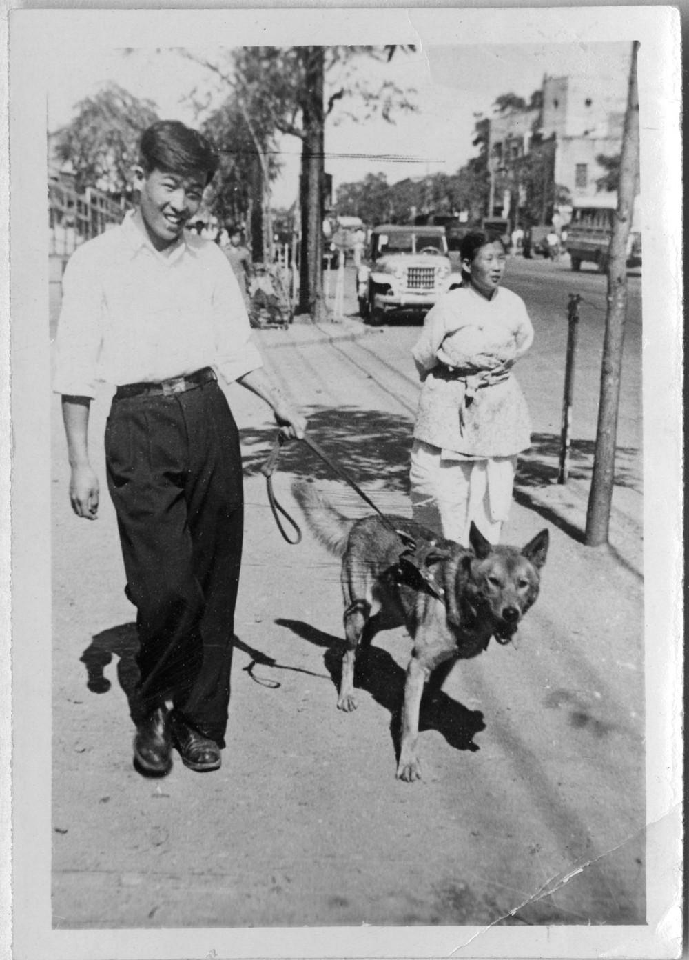 With is dog Hope, circa 1954