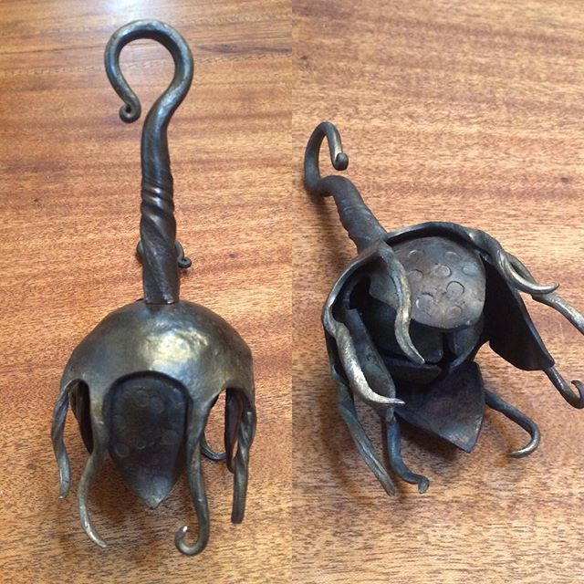More forged bells! This one is a strange sea-form styled bell. #sleighbellstyling #womenblacksmiths #blacksmithing #forgingforfun