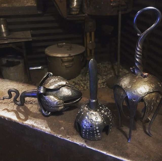 And this is what I've been busy with. It's been an honor to work up some of these sculptural bells for the gallery at @mecanica_antiques! Thanks @_sarah__hamilton_ !#ilovemyforge #bells #metalwork #metalsculpture #forging