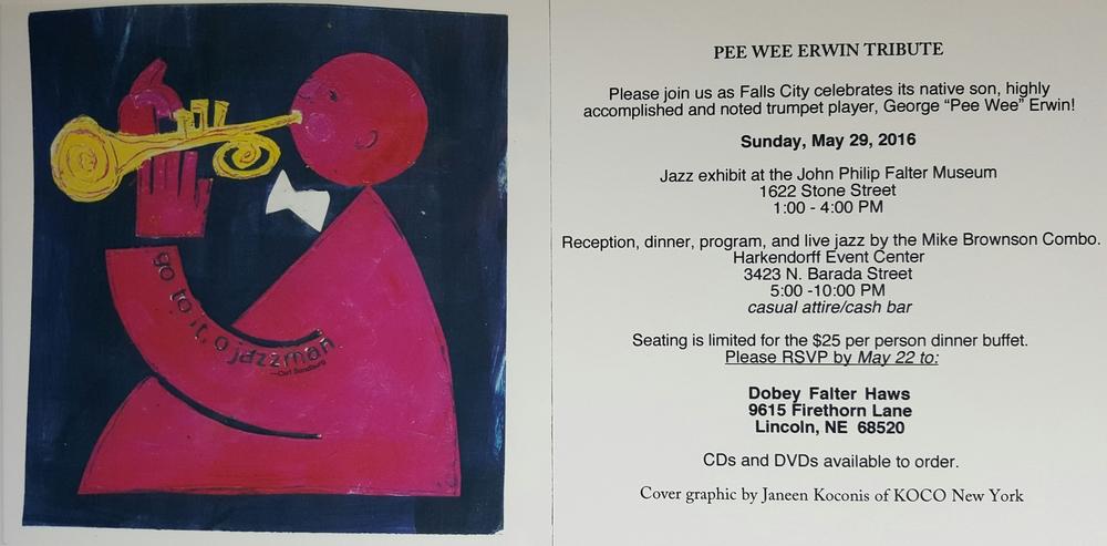 Pee Wee Erwin Tribute Invitation