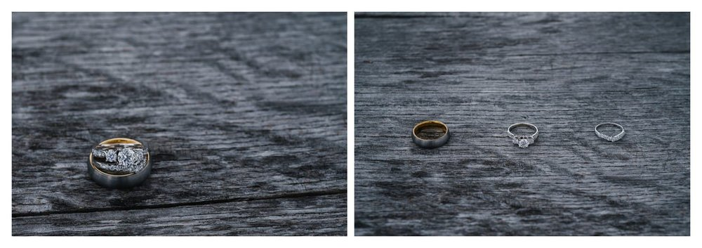 wedding rings against grey weathered wood