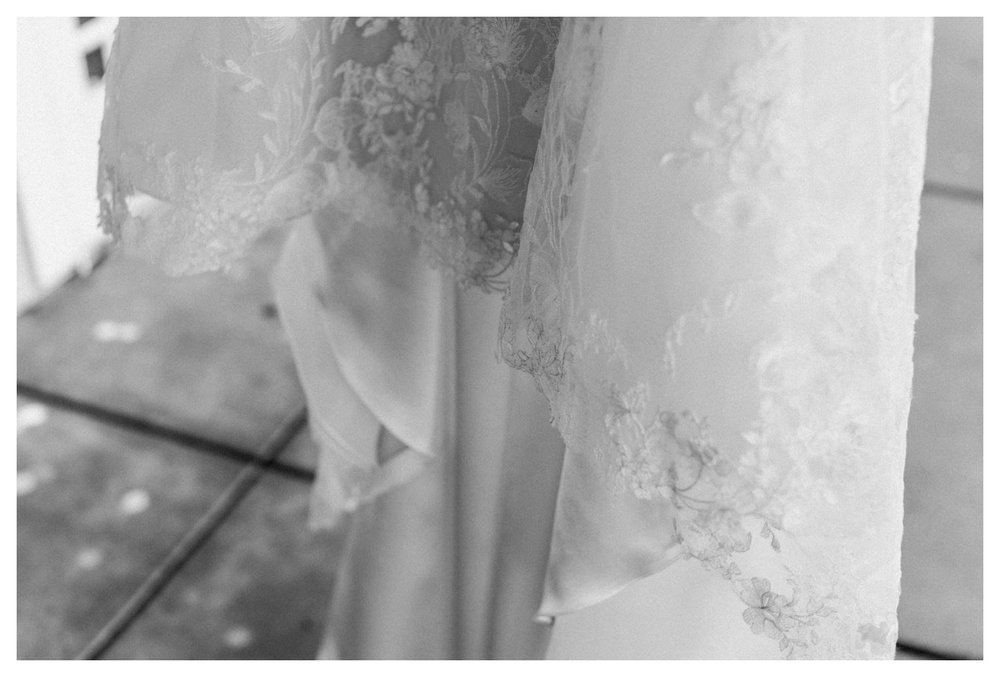 details of a wedding dress.
