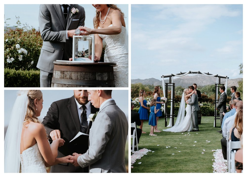 A wedding ceremony at Twin Oaks Golf Course.