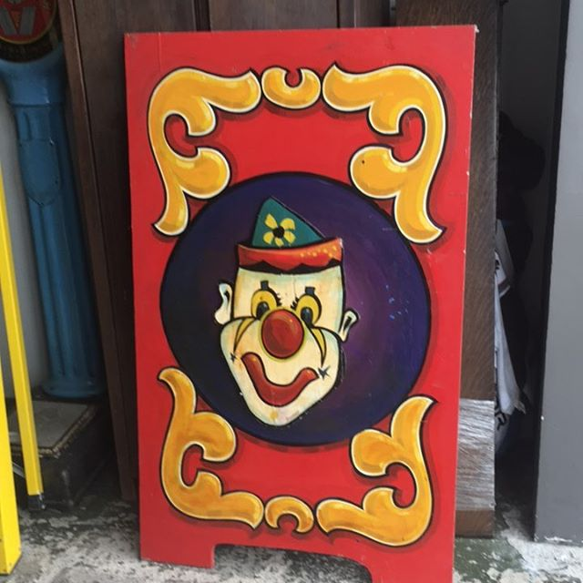 "This clown. Signed Jim Hand. 56"" tall. Hand painted on board.  #athideaway"