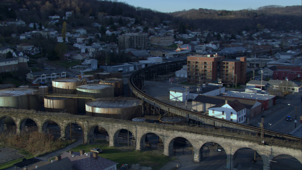 CGI, B & O Railroad Viaduct, Bellaire, Ohio.