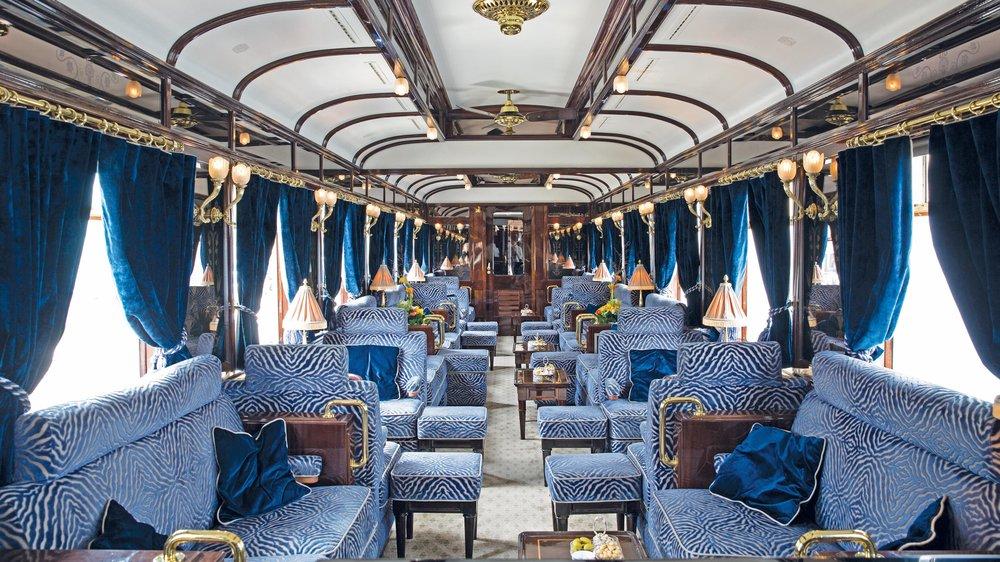 La vettura bar del Venice-Simplon Orient Express.