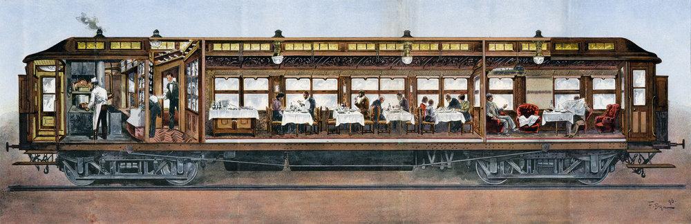 Sezione della carrozza ristorante, 1896. Collection Arjan den Boer.