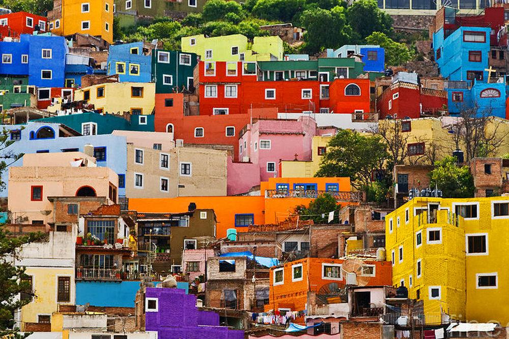 Le caratteristiche casette colorate di Guanajuato.
