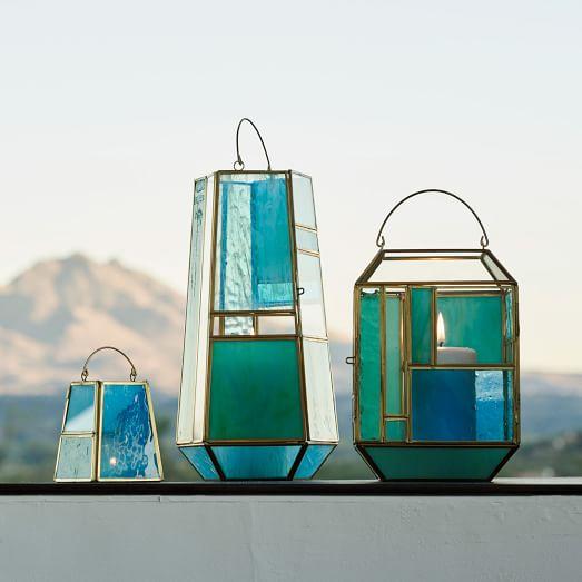 West Elm's Aqua Glass Lanterns